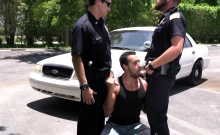 Suspect Is Taken And Banged By Gay Cops Against The Car Hood