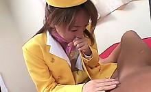 Japanese stockinged flight attendant orally pleasing horny