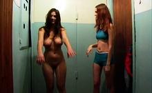 Busty cutie erotic shower rubdown