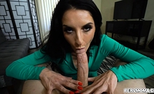 Silvia takes Ikes load of cum on her tongue