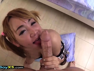 Blonde ladyboy with pigtails gets barebacked POV style