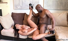 Huge tits pornstar takes black cock in ass