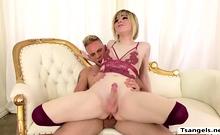 Gorgeous Blonde Ts Ella Hollywood Gets Her Ass Fucks Hard