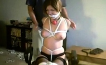 naughty slut Lindsey wrapped in ropes