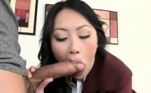 Asian schoolgirl gives tutor blowjob after school