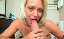 POV trashy blonde MILF fellating and deep throating cock